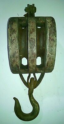 "Antique 18""Maritime Ship Block & Tackle Pulley Boston & Lockport Farm/Barn Decor"