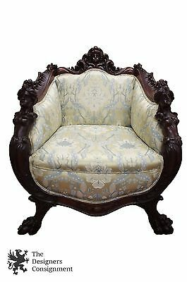 Antique Continental Mahogany Carved Nude Figural Gentlemans Chair Scalamandre