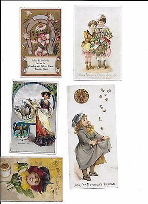 Victorian Trade Cards :Lot of 5 Threads, Starch, coffee, Sewing advertisements