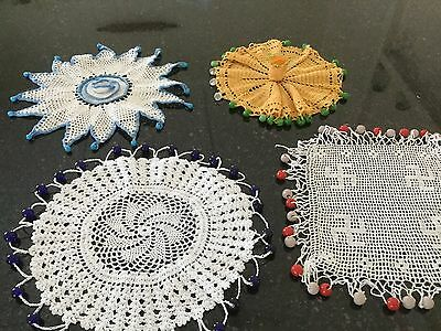Hand Crocheted Vintage Glass Beaded Jug Covers (4)