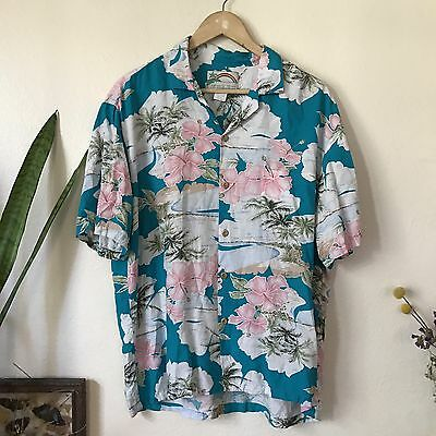 Paradise Found Men's Large Vintage Hawaiian Shirt Short Sleeve Blue Pink Floral