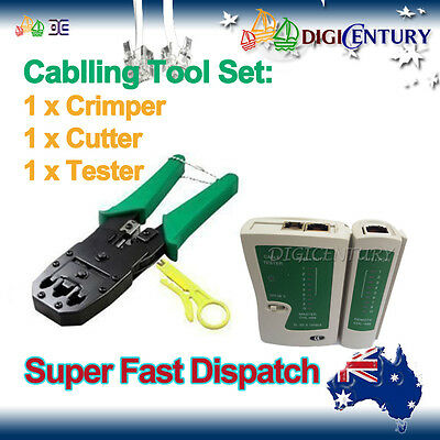 Phone Line Tester + Crimper for RJ45 / RJ11 LAN Ethernet Cable Tool Set Cat6 5e