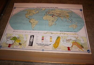 1958 Denoyer-Geppert  Map, World History Series,The Bronze Age , Pull Down