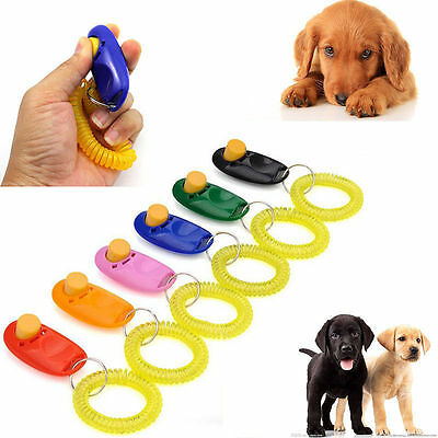 1X Puppy Dog Cat Pet Click Clicker Button Training Obedience Aid Wrist Strap NEW
