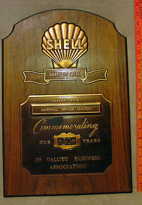 Shell Oil Co. Marshall Service Station Plaque 30 Years