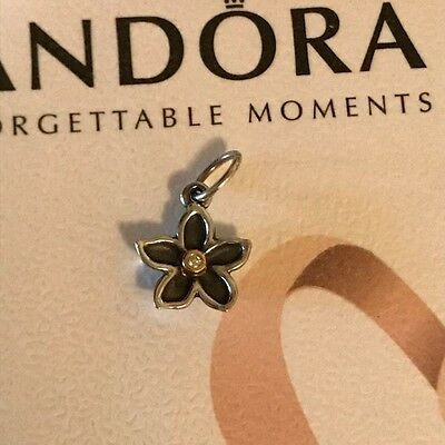 14K Gold Silver PANDORA He Loves Me Hawthorn Flower Dangle Charm 390170D RETIRED