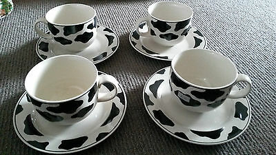 4 x CUPS & SAUCER SET COW PATTERN Black/White TIENSHAN STONEWARE MELBOURNE