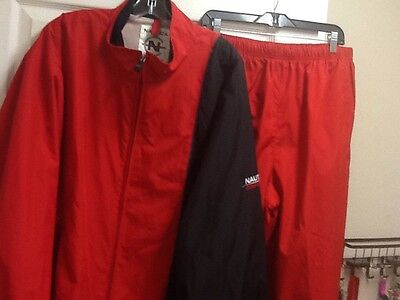 Mens Vintage NAUTICA COMPETITION Red Windbreaker Track Suit Jacket XXL Pants XL