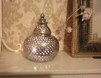 Beautiful Moroccan Style Satin Silver Cut Work Candle Lantern New Home Garden