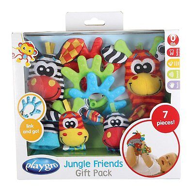 Adorable Baby Jungle Friends Striped Socks Wrist Rattles BPA Free Gift Toy Pack