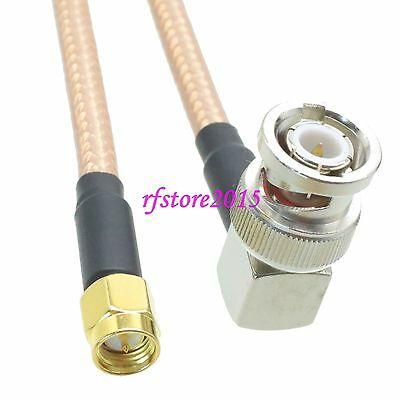 Cable RG142 8inch SMA male plug to BNC male plug right angle RF Pigtail Jumper