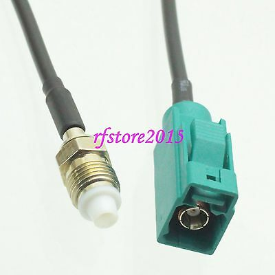 Cable RG174 6inch Fakra SMB Z 5021 female to FME female jack RF Pigtail Jumper