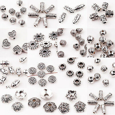 15/30X Silver Plated Carve Ball Charm Bead Flower Bead Caps Jewelry Finding DIY