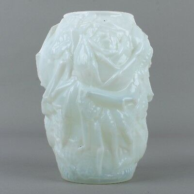 Antique Opalescent Milk Glass Rose Vase