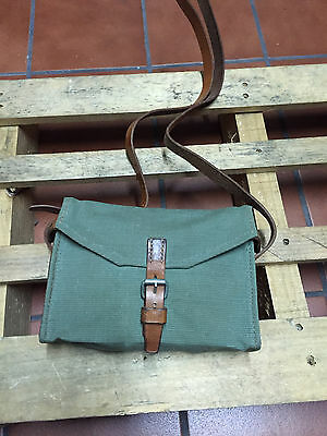 Excellent Condition! Vintage Swiss Army Military Shoulder Bag Leather and Canvas