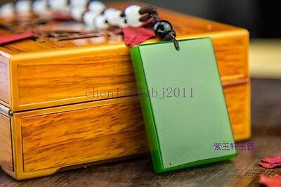 Chinese natural green jade hand carved pendant necklace 平安无事