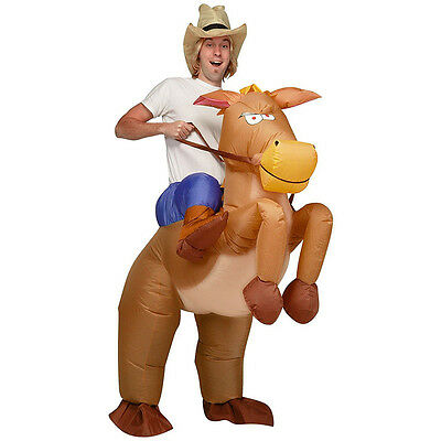 Inflatable Horse Cowboy Suit Halloween Fun Fancy Party Dress Cosplay Costume New
