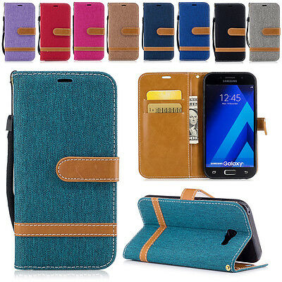 Luxury Magnetic Jean Leather Card Wallet Stand Case Cover for iPhone Samsung