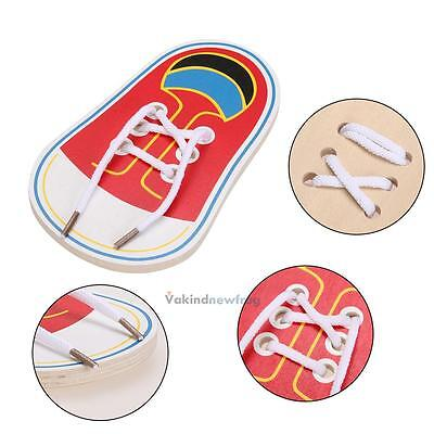 Wooden Lacing Shoe Learn to Tie Lace Threading Motor Skills Early Education Toy