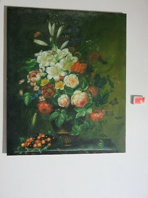 Vintage Original Flower  Painting Roses  Oil On Canvas On Stretchers  Very Old
