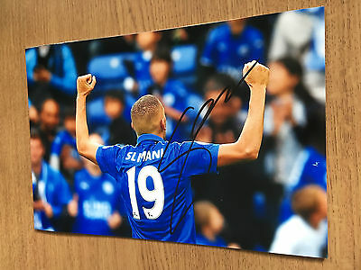 Islam Slimani Leicester City Fc Football 12X8 Hand Signed Photo Autograph