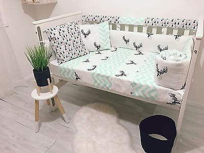 Black On White Deer Mint Chevron Baby Cot Bumper And Quilt Set
