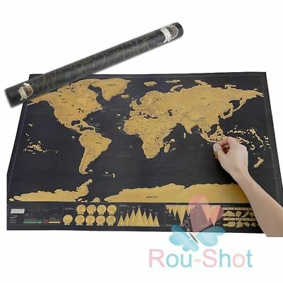 Deluxe Travel Edition Scratch Off World Map Poster Personalized Journal【AU】