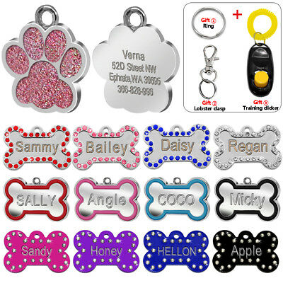 Personalised Dog Tags Engraved Cat Puppy Pet ID Name Collar Tag Bone/Paw Glitter