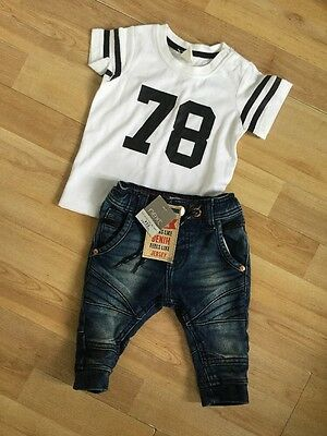 Next, H&m Baby Boys Outfit Brand New Jersey Style Jeans, T Shirt, Top