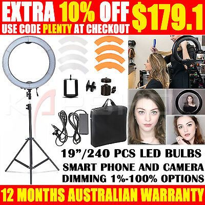 """ES240 19"""" 5500K Dimmable Diva LED Ring Light with Diffuser Stand Make Up Studio"""