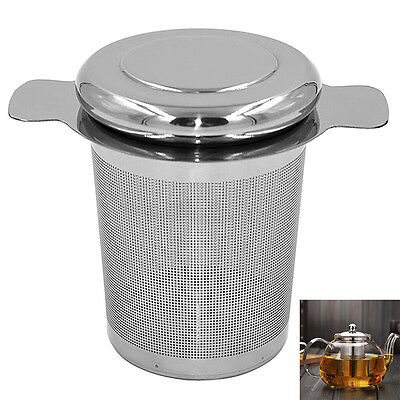 UK New Tea Spice Strainer Mesh Tea Infuser Filter Diffuser Stainless Steel + Lid