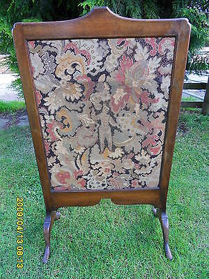 Vintage Mahogany and Tapestry Fire Screen