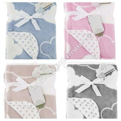 Cloud Baby Blanket Beige Neutral Unisex Clouds Swaddle Throw Soft Velour Newborn