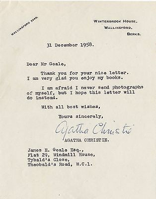 AGATHA CHRISTIE TYPED LETTER SIGNED 1958 Ref. Books!