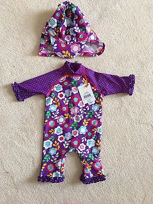 Boots Mini Club Sun Safe Swimming Costume & Hat 3-6 Months UPF 40+ New With Tags