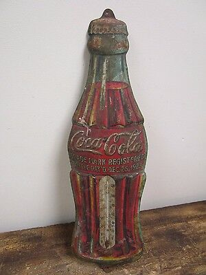 Antique Coca Cola Soda Pop Bottle Metal Thermometer Sign~ Christmas Day Pat 1923