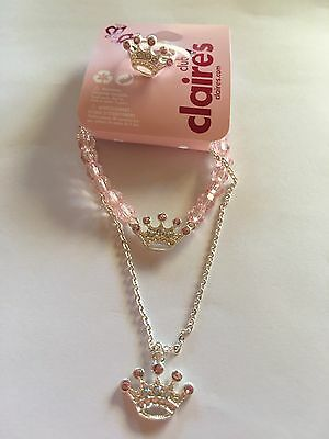 Claire's Children's Pink Crown Jewellery 3 Piece Set Plus Free Organza Gift Bag