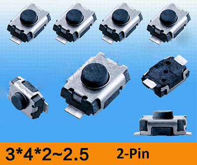 3x4x2mm-2.5mm Momentary Tactile Push Button Switch SMD SMT Micro PCB for Arduino