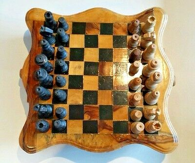 Rare Chess Set Wooden chess board Game 2 drawers Storing hand made wooden pieces