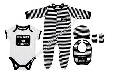 Boys 5 Piece Slogan Been Inside For 9 Months  Sleepsuit Set