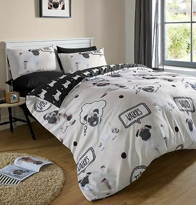 3Pcs Duvet Set Quilt Cover with Pillow Cases Bedding set - Walkies Pug