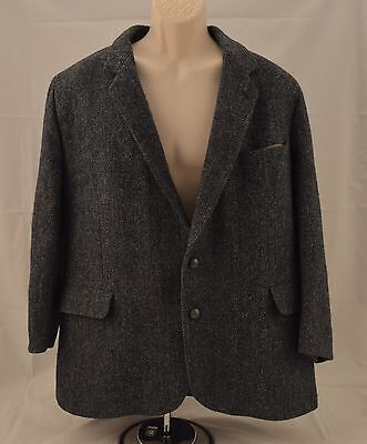 Harris Tweed Dunn & Co Made in Britain England Wool 2-Button Coat Gray Men S-48