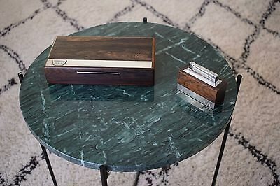 Set of Danish mid century rosewood lighter and box with metal inlays