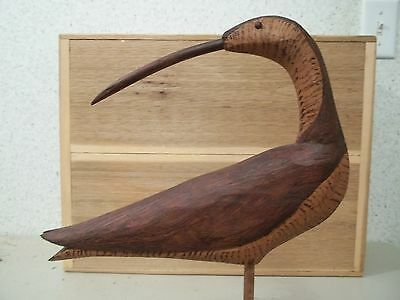 Hand Carved Antique Style Turned Head Looking Curlew Shorebird Decoy