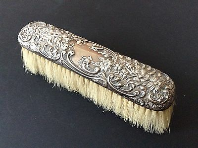 Antique Silver Backed Cloths Brush Hallmarked Birmingham 1902
