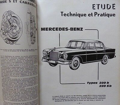 Revue technique MERCEDES BENZ 220B 220 SB RTA 211 1963 SALON 1963 AUTOMATIQUE