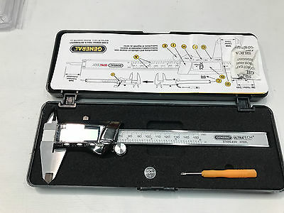 General Tools 147 Fractional Caliper w/ Extra-Large LCD Screen 3 Mode 6 in (A44)