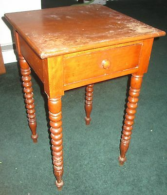 Antique 19th c. Cherry Spindle Spool Leg Lamp End Table