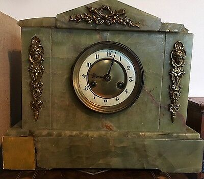 Stunning Large Antique French Marble Mantel Clock Working But For Restoration