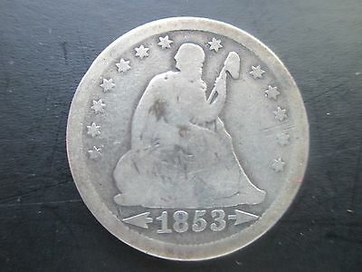 U.S. Coins, Seated Liberty Quarter Dollar, 1853, 900 Silver, Variety 2